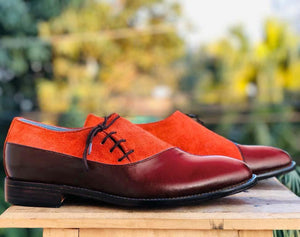 leather404 Clothing, Shoes & Accessories:Men's Shoes:Dress Shoes Men's Tan & Burgundy Leather Suede Lace Up Shoes