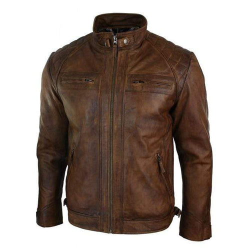 etro Style Zipped Biker Jacket Real Leather Washed Soft Tan Brown Casual