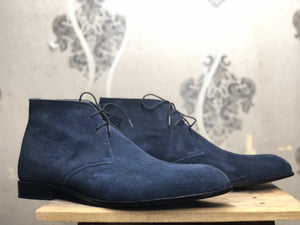 leather404 Clothing, Shoes & Accessories:Men's Shoes:Boots Men's Navy Blue Ankle High Suede Boot