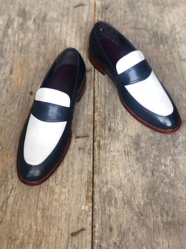 leather404 Clothing, Shoes & Accessories:Men's Shoes:Dress Shoes usa-7 Men's White Navy Blue Slip On Moccasin Leather Shoes
