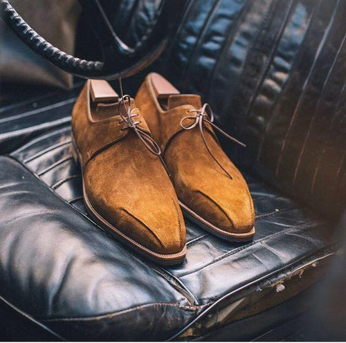 leather404 Clothing, Shoes & Accessories:Men's Shoes:Dress Shoes usa-7 Men's Suede Lace Up Shoes, Tan Derby Stylish Shoes