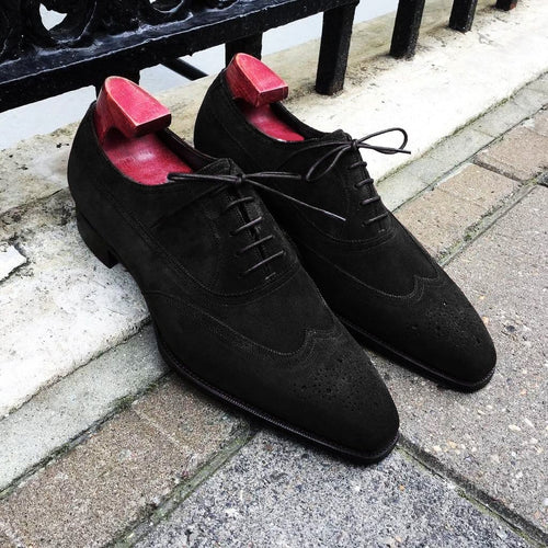 leather404 Clothing, Shoes & Accessories:Men's Shoes:Dress Shoes Handmade Black Suede Brogue Shoes