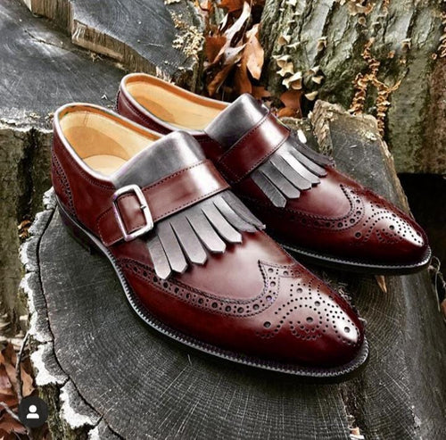 leather404 Clothing, Shoes & Accessories:Men's Shoes:Dress Shoes Handmade Gray Burgundy Wing Tip Fringe Monk Leather Men's Boot