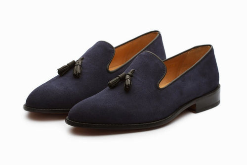 leather404 Clothing, Shoes & Accessories:Men's Shoes:Dress Shoes Handmade Blue Suede Tussles Loafers For Men's