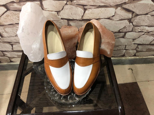 leather404 Clothing, Shoes & Accessories:Men's Shoes:Dress Shoes Handmade Brown & Tan Penny Loafers Slip Ons Dress Shoes For Men's
