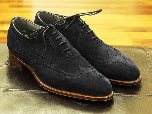 leather404 Clothing, Shoes & Accessories:Men's Shoes:Dress Shoes Men's Black Suede Brogues Shoes