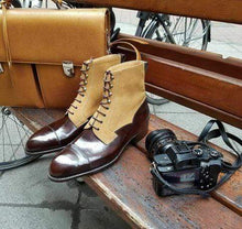 leather404 Clothing, Shoes & Accessories:Men's Shoes:Boots Burgundy Beige Ankle high Cap Toe Men's Lace Up Boot