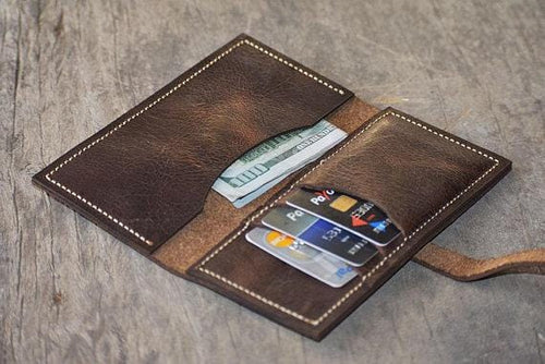 leather404 wallet Handmade PERSONALIZED Leather Card Holder, Men Pocket Wallet, Card Holder, Hand Stitched, Father's Day Wedding Gift Wallet - Listing # 2047