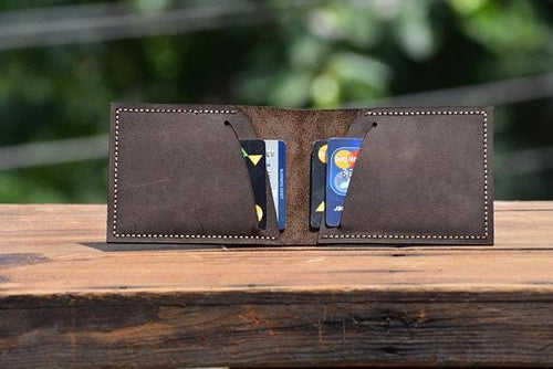 leather404 wallet Handmade PERSONALIZED Leather wallet, Leather Men's Bi-Fold Pocket Wallet, Men Card Holder, Gift Wallet, Hand Stitched - Listing  # 2012