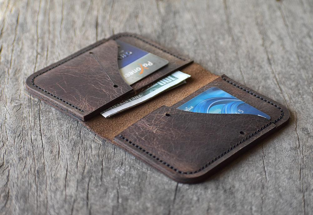 leather404 wallet Personalize Hand stitched Mini Card Holder, Men Leather wallet, Groom Gift, Bi-fold Card Holder, Gift Wallet, Leather Card Holder #2034