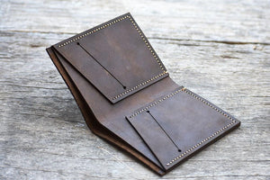 leather404 wallet Handmade PERSONALIZED Leather Wallet, Leather Men Bi-Fold Pocket Wallet, Card Holder, Gift Wallet, Hand Stitched, Groom Gift- Listing # 2008