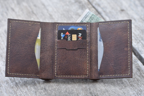 leather404 wallet Handmade PERSONALIZED Leather Wallet Men's Tri-Fold Pocket Wallet, Men Card Holder, Gift Wallet, Hand Stitched Wallet- Listing  # 2007