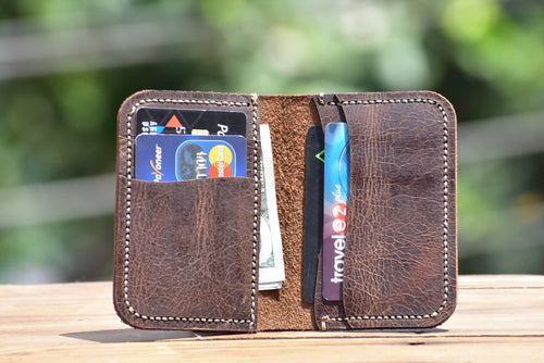 leather404 wallet Personalize Hand stitched Minimal Card Holder, Men Leather wallet, Groom Gift, Bi-fold Card Holder, Gift Wallet, Leather Card Holder # 2036