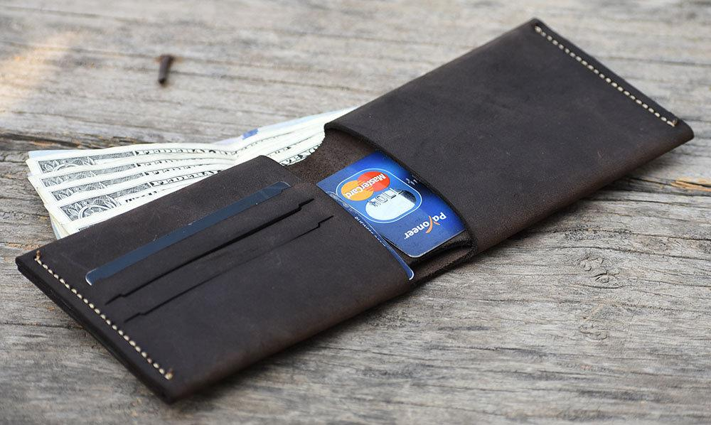 leather404 wallet Hand Stitched PERSONALIZE Leather Wallet, Men Double Side Leather Back Pocket Card Holder, Fathers day Gift Wallet, Hand Stitched # 2048