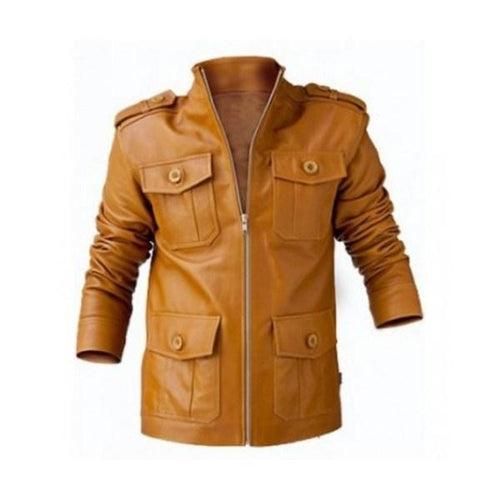 leather404 Clothing, Shoes & Accessories:Men's Clothing:Coats & Jackets s Handmade men's light brown Color leather Pocket jacket