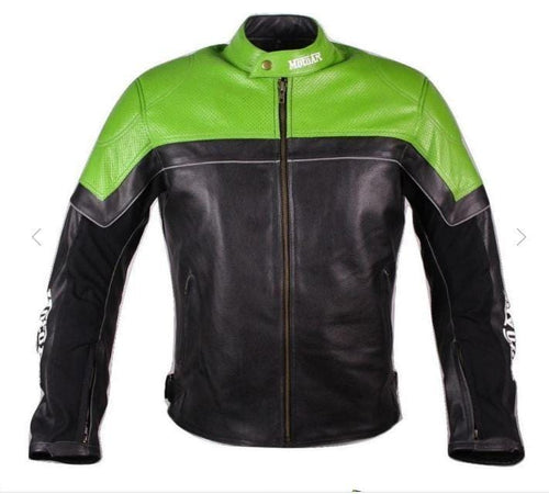 leather404 Clothing, Shoes & Accessories:Men's Clothing:Coats & Jackets s Handmade motorcycle leather jacket motorcar racing pro series green black perforated leather jacket