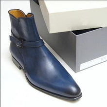 leather404 Clothing, Shoes & Accessories:Men's Shoes:Boots Blue Leather Jodhpurs Buckle Boot