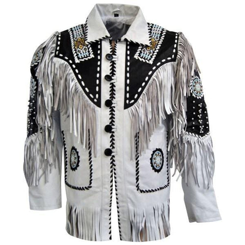 leather404 Clothing, Shoes & Accessories:Men's Clothing:Coats & Jackets Men's Suede Fringe Jacket White Black Cow Hide Stylish Suede Jacket