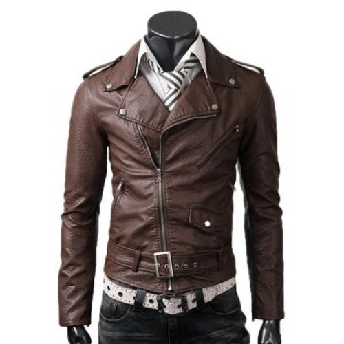 leather404 Clothing, Shoes & Accessories:Men's Clothing:Coats & Jackets Mens Genuine Lambskin Leather Quilted Motorcycle Brown Jacket Slim fit Biker Jacket