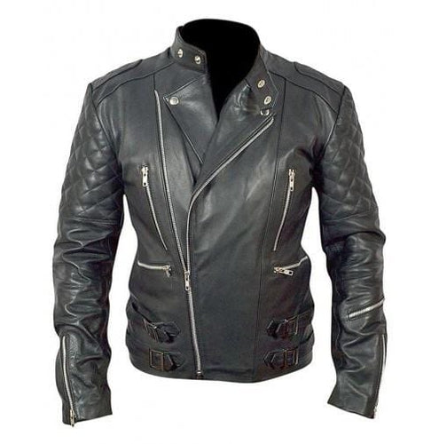 leather404 Clothing, Shoes & Accessories:Men's Clothing:Coats & Jackets s Mens Genuine Lambskin Leather Quilted Motorcycle Black Jacket Slim fit Biker Jacket