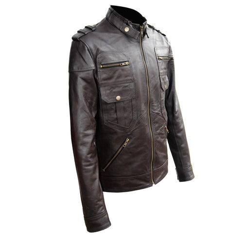 leather404 Clothing, Shoes & Accessories:Men's Clothing:Coats & Jackets Men's Genuine Zipper Button Leather Quilted Motorcycle Brown Jacket Slim fit Biker Jacket