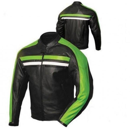 leather404 Clothing, Shoes & Accessories:Men's Clothing:Coats & Jackets s Mens Biker leather jacket black green Striped Jacket