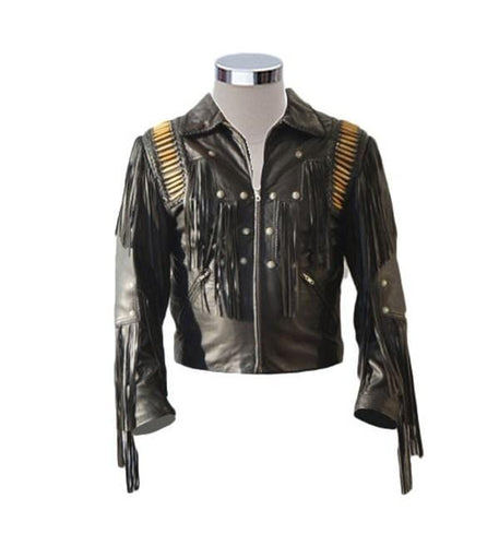leather404 Clothing, Shoes & Accessories:Men's Clothing:Coats & Jackets s Men's Bluish Black Leather Western Cowboy Leather Jackets Fringe Bones