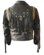 leather404 Clothing, Shoes & Accessories:Men's Clothing:Coats & Jackets Men's Bluish Black Leather Western Cowboy Leather Jackets Fringe Bones
