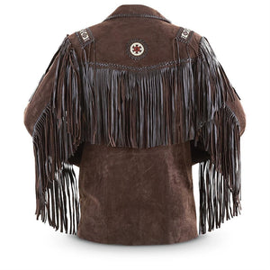 leather404 Clothing, Shoes & Accessories:Men's Clothing:Coats & Jackets Men's Bluish Brown Suede Western Cowboy Leather Jacket Fringe Bones
