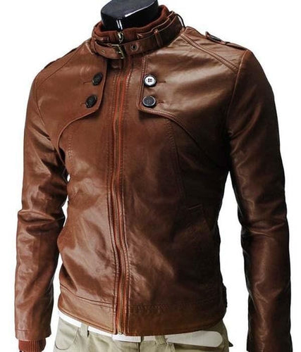 leather404 Clothing, Shoes & Accessories:Men's Clothing:Coats & Jackets s Men slim fit Leather Jacket, Leather jacket, Brown Button Zipper Jacket