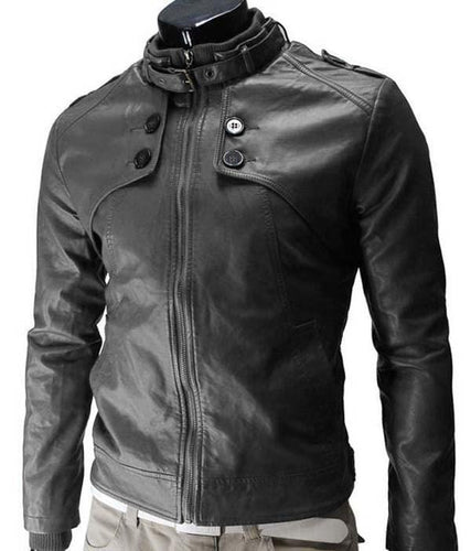 leather404 Clothing, Shoes & Accessories:Men's Clothing:Coats & Jackets s slim fit Leather Jacket, Mens Leather jacket, Black Button Zipper Jacket