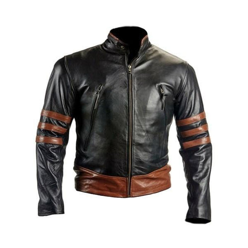 leather404 Clothing, Shoes & Accessories:Men's Clothing:Coats & Jackets s Slim Fit Biker Style Brown X-MEN Wolverine Black Leather Jacket