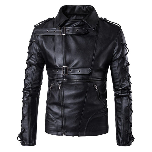 leather404 Clothing, Shoes & Accessories:Men's Clothing:Coats & Jackets s Men's Black Belted Buckle Zip Up Laces Leather Handmade Casual Jackets