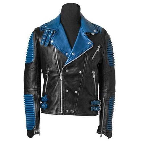 leather404 Clothing, Shoes & Accessories:Men's Clothing:Coats & Jackets s Men Blue Black Motorbike Leather Classic Trendy Scooter Fashion Jackets