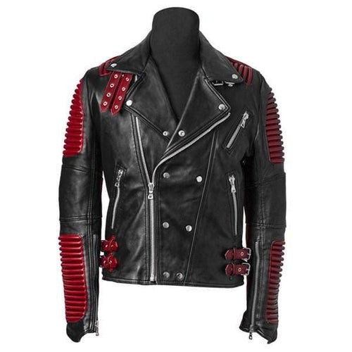 leather404 Clothing, Shoes & Accessories:Men's Clothing:Coats & Jackets s Men's Red Black Motorbike Leather Jacket, Classic Trendy Scooter Fashion Jacket