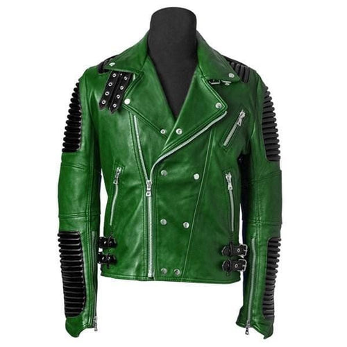 leather404 Clothing, Shoes & Accessories:Men's Clothing:Coats & Jackets s Men's Green Motorbike Leather Jacket, Trendy Scooter Fashion Jacket