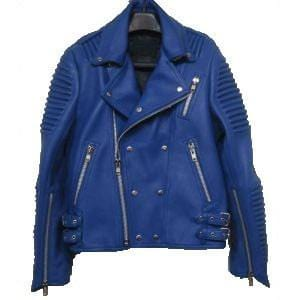 leather404 Clothing, Shoes & Accessories:Men's Clothing:Coats & Jackets s Men's New Blue Padded Motorbike Leather Jacket, Trendy Scooter Fashion Jackets