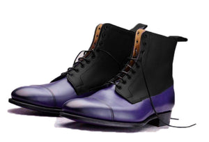 Purple Black boot Cap Toe boot dress shoes Casual Boots Men boots Ankle boots Ankle Lace up boot ankle high shoes leather Shoes Tow Tone Ankle boots Leather Boots boots shoes leather boots Split toe boots  Two tone Boots men's fashion boot Men fashions Designer Boots party shoes Mens Dress Shoes Lace up leather boots