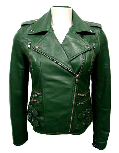 leather404 Clothing, Shoes & Accessories:Men's Clothing:Coats & Jackets s Mens Genuine Zipper Belted Leather Quilted Motorcycle Green Jacket Slim fit Biker Jacket