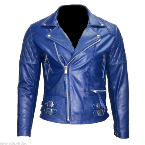 leather404 Clothing, Shoes & Accessories:Men's Clothing:Coats & Jackets s Men's New Blue Branded Motorbike Leather Jacket, Trendy Scooter Fashion Jackets