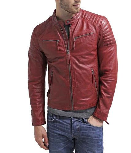 leather404 Clothing, Shoes & Accessories:Men's Clothing:Coats & Jackets s Men's Maroon Zipper Padded Motorbike Leather Jacket, Trendy Scooter Fashion Jacket