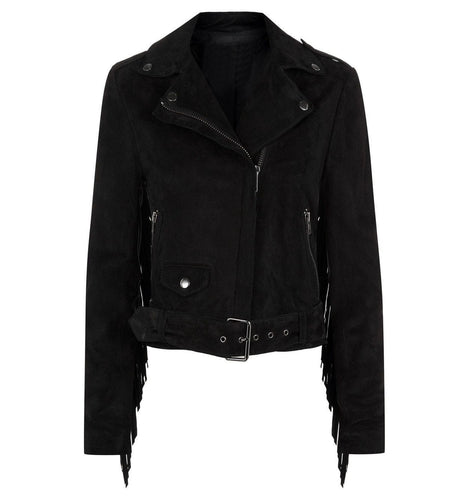 leather404 Clothing, Shoes & Accessories:Men's Clothing:Coats & Jackets s Men Black Belted Zipper Fringe Suede Jacket, Classic Trendy Scooter Fashion Jacket