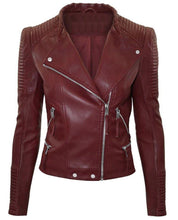 leather404 Clothing, Shoes & Accessories:Men's Clothing:Coats & Jackets s Men's Maroon Zipper Padded Motorbike Leather Jacket, Classic Trendy Scooter Fashion Stylish Jacket