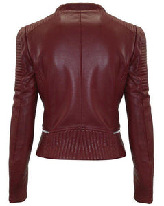 leather404 Clothing, Shoes & Accessories:Men's Clothing:Coats & Jackets Men's Maroon Zipper Padded Motorbike Leather Jacket, Classic Trendy Scooter Fashion Stylish Jacket