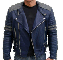 leather404 Clothing, Shoes & Accessories:Men's Clothing:Coats & Jackets s Men's Navy Blue Gray Motorbike Leather Jacket, Classic Trendy Scooter Fashion Jacket
