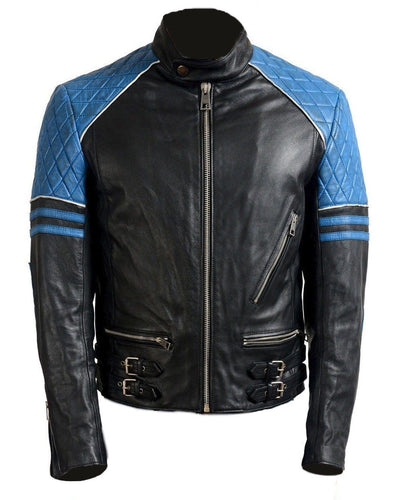 leather404 Clothing, Shoes & Accessories:Men's Clothing:Coats & Jackets s Men Blue Black Motorbike Leather Jacket, Classic Trendy Scooter Fashion Jacket