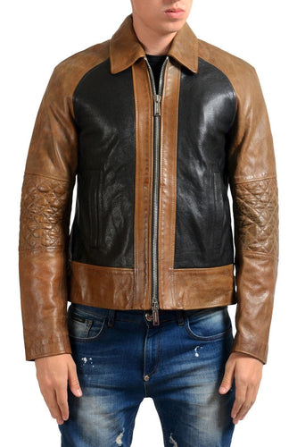 leather404 Clothing, Shoes & Accessories:Men's Clothing:Coats & Jackets s Men Brown Black Branded Motorbike Leather Scooter Fashion Zipper Jacket