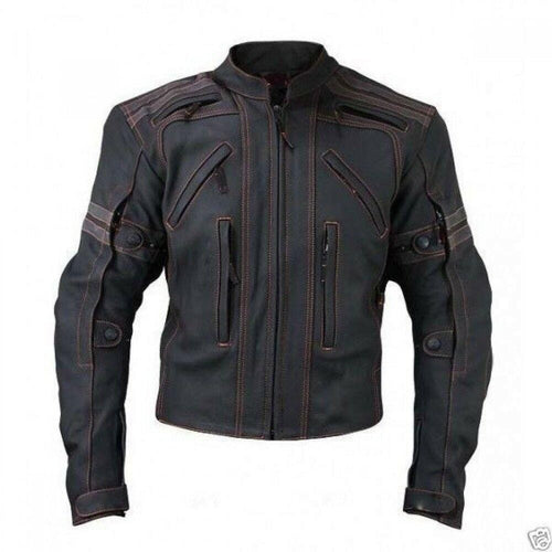 leather404 Clothing, Shoes & Accessories:Men's Clothing:Coats & Jackets s Mens Vulcan Street VTZ Full Black Motorbike Orange Stitching Leather Jackets
