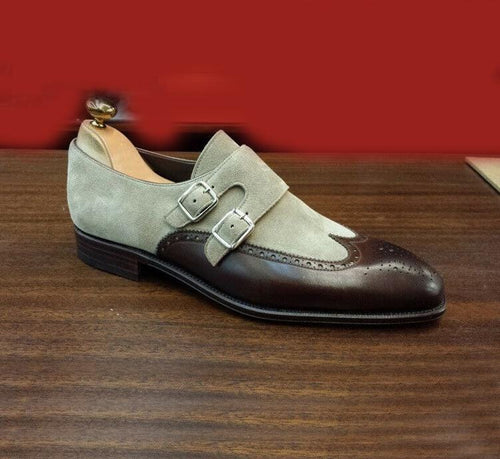 leather404 Clothing, Shoes & Accessories:Men's Shoes:Dress Shoes Gray Brown Monk shoes