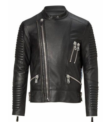 leather404 Clothing, Shoes & Accessories:Men's Clothing:Coats & Jackets s Men Black Padded Motorbike Leather Jacket, Classic Trendy Scooter Fashion Jackets